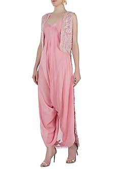 Pink Embroidered Jumpsuit Set by Rebecca Dewan