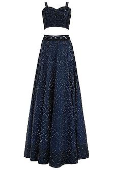 Blue Embroidered Lehenga Set by Rebecca Dewan