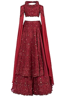 Red Embroidered Swarovski Bridal Lehenga Set