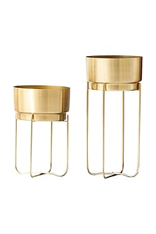 Exclusive Champagne Gold Planters- Set Of 2 by The Decor Remedy