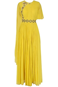 Canary Yellow Floral Embroidered Cape Gown