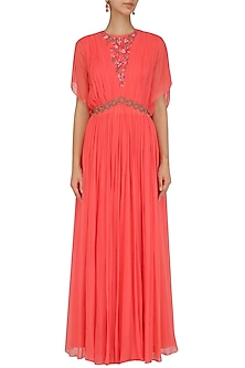 Coral Red Floral Embroidered Rouched Gown by Ridhi Arora