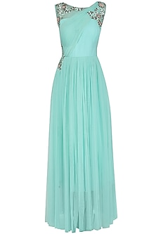 Aqua Blue Embroidered Draped Gown by Ridhi Arora