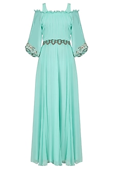 Aqua Blue Off Shoulder Belted Gown by Ridhi Arora