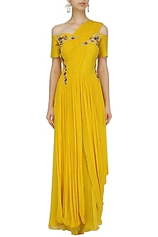 Canary Yellow Floral Cold Shoulder Gown by Ridhi Arora