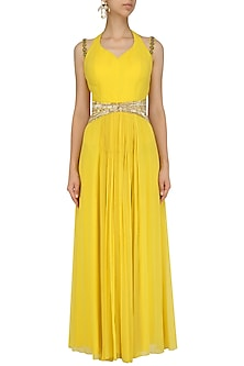 Canary Yellow Belted Rouched Gown by Ridhi Arora