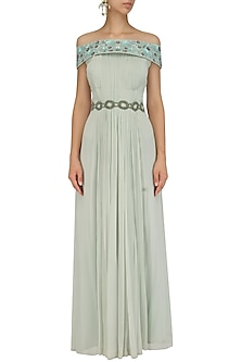 Sage Green Floral Off Shoulder Gown by Ridhi Arora
