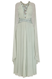 Sage Green Winged Sleeves Belted Gown