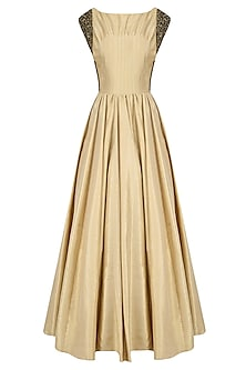 Gold Beads Embroidered Tucks Detail Flared Gown