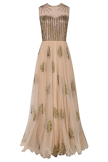 Peach and Gold Floral Motifs and Sequins Work Gown