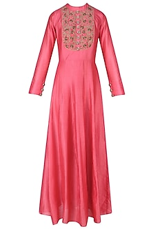Carrot Pink Beads Embroidered Floor Length Gown