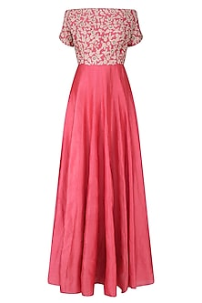 Carrot Pink Floral Embroidered Off Shoulder Gown