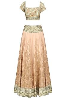 Pale Pink and Pastel Green Threadwork Lehenga Set by Ridhi Arora