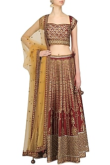 Maroon and Mustard Gota Patti Lehenga Set by Ridhi Arora