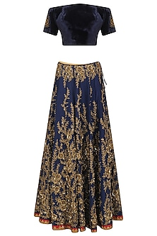 Navy Blue Off Shoulder Floral Embroidered Lehenga Set by Ridhi Arora
