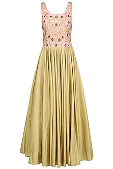 Powder Pink and Gold Embroiderd Gown by Ridhi Arora