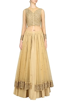 Gold Embroidered Anarkali Jacket with Gold Skirt by Ridhi Arora