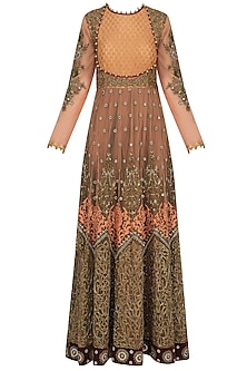 Rust and Gold Embroidered Floor Length Gown