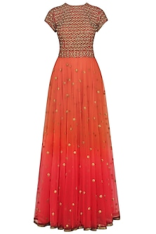 Burnt Orange and Maroon Embroidered Gown