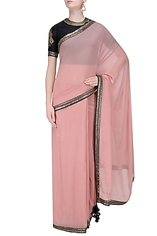 Nude Pink Georgette Saree and Black Embroidered Blouse Set by Radhika Airi