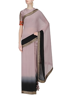 Ash Pink and Black Ombre Shaded Saree and Embroidered Blouse Set by Radhika Airi