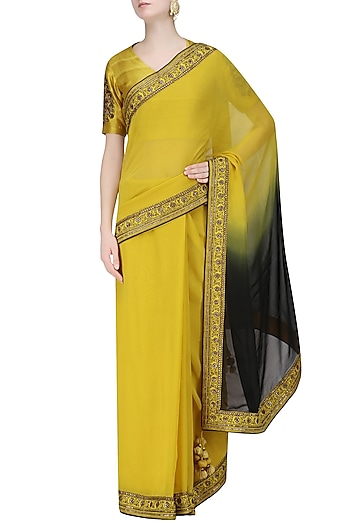 Mustard Yellow and Black Ombre Shaded Saree and Embroidered Blouse Set by Radhika Airi