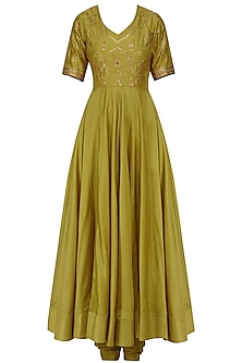 Dijon Mustard Embroidered Anarkali Set by Radhika Airi