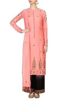 Pastel Pink Embroidered Kurta with Pants by Radhika Airi