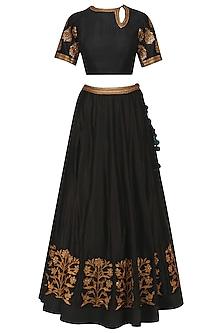 Black Embroidered Lehenga Set by Radhika Airi