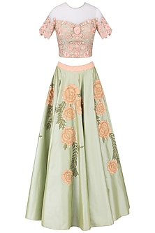 Olive green floral embroidered crop top with skirt set