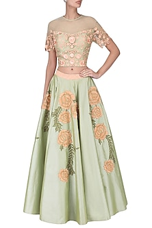 Olive green floral embroidered crop top with skirt set by Ridhi Arora