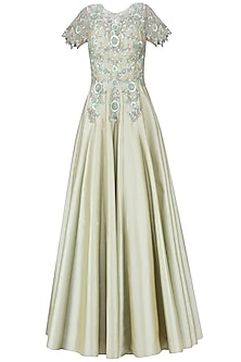 Olive green floral embroidered gown by Ridhi Arora