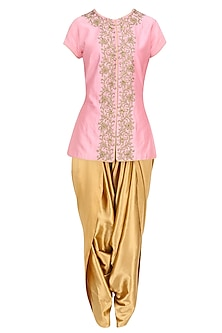 Soft Pink Zari and Bead Work Jacket with Gold Dhoti Pants by Ridhi Arora