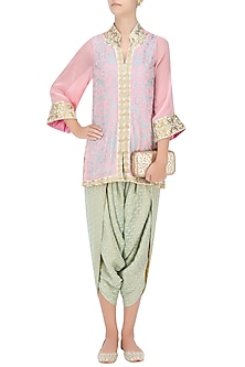 Soft Pink and Pale Green Resham Work Jacket with Banarasi Dhoti Pants by Ridhi Arora