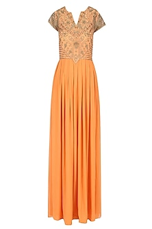Peach and Antique Gold Sequin Embroidered Gown