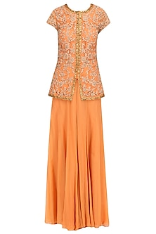 Peach Dori Embroidered Short Kurta and Sharara Pants Set by Ridhi Arora