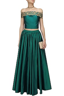 Teal Off Shoulder Crop Top and Skirt Set by Ridhi Arora