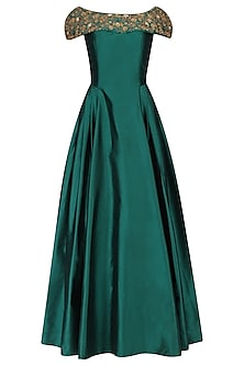 Teal Off Shoulder Gown Dori Work Gown by Ridhi Arora