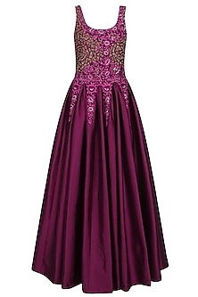Wine Floral Embroidered Beaded Gown