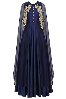 Navy Blue Gown and Floral Embroidered Cape Set