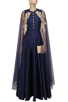 Navy Blue Gown and Floral Embroidered Cape Set by Ridhi Arora