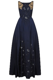 Navy Blue Tone On Tone Floral Embroidered Flared Gown by Ridhi Arora