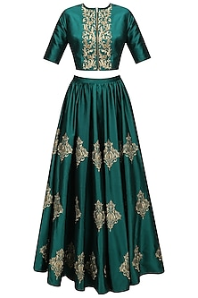Teal Green and Gold Floral Motifs Crop Top and Skirt Set