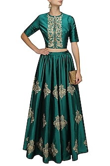 Teal Green and Gold Floral Motifs Crop Top and Skirt Set by Ridhi Arora