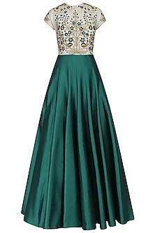 Ivory and Teal Resham Embroidered Flared Gown