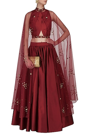 Red Pleated Crop Top, Skirt and Beaded Cape Set by Ridhi Arora