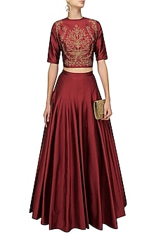Red Embroidered Crop Top and Plated Skirt Set by Ridhi Arora