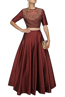 Red Dori and Sequins Work Crop Top and Skirt Set by Ridhi Arora