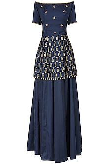 Navy blue embroidered peplum with lehenga set
