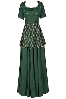 Bottle green embroidered peplum with lehenga set